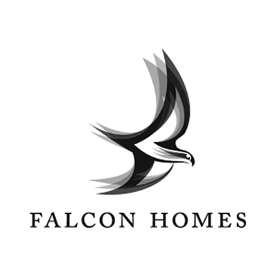 Falcon Homes logo Black and White